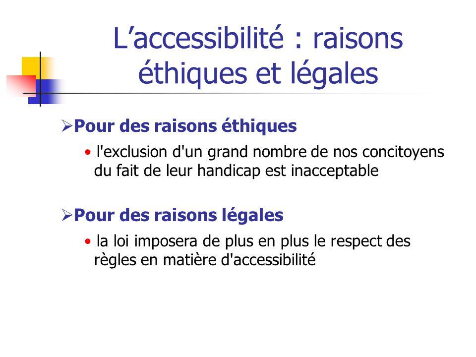 Laccessibilité : raisons éthiques et légales Pour des raisons éthiques l'exclusion d'un grand nombre de nos concitoyens du fait de leur handicap est i