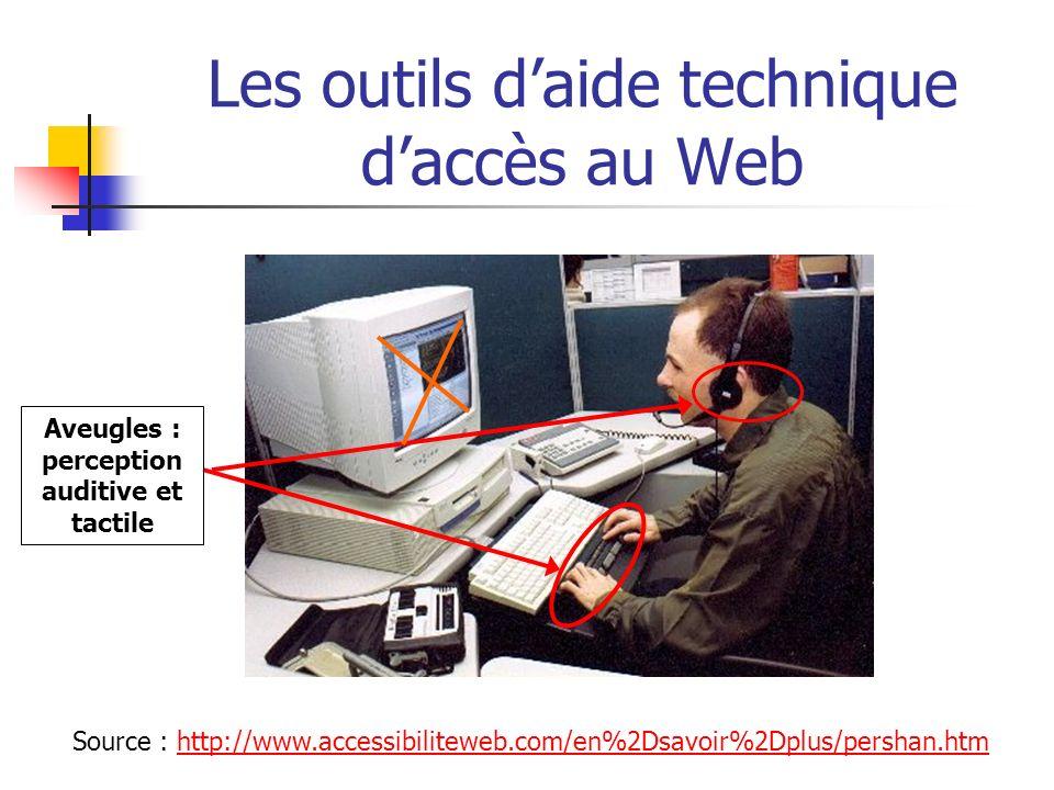 Internet & déficients visuels : problématique Problèmes rencontrés sur le Web /aveugles: accès à l information difficile - perte d information - la sémantique liée aux éléments graphiques et à la présentation de la page sont perdus s ils ne sont pas complétés par du texte - tableaux de données non labellisés donc incompréhensibles - texte inclus dans une image perdu car non interprétable - technologies rendant invisible l information : Flash (avant version MX), Javascript...