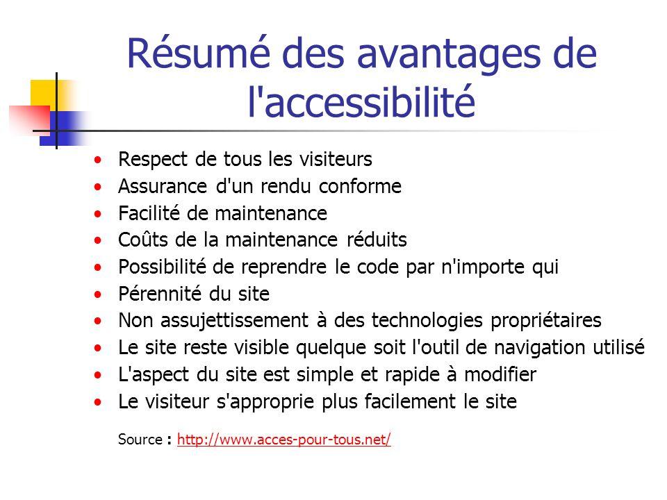 Résumé des avantages de l'accessibilité Respect de tous les visiteurs Assurance d'un rendu conforme Facilité de maintenance Coûts de la maintenance ré