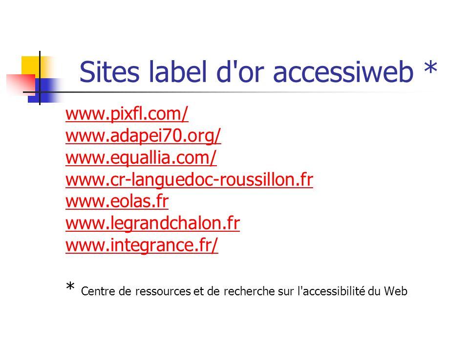 Sites label d'or accessiweb * www.pixfl.com/ www.adapei70.org/ www.equallia.com/ www.cr-languedoc-roussillon.fr www.eolas.fr www.legrandchalon.fr www.