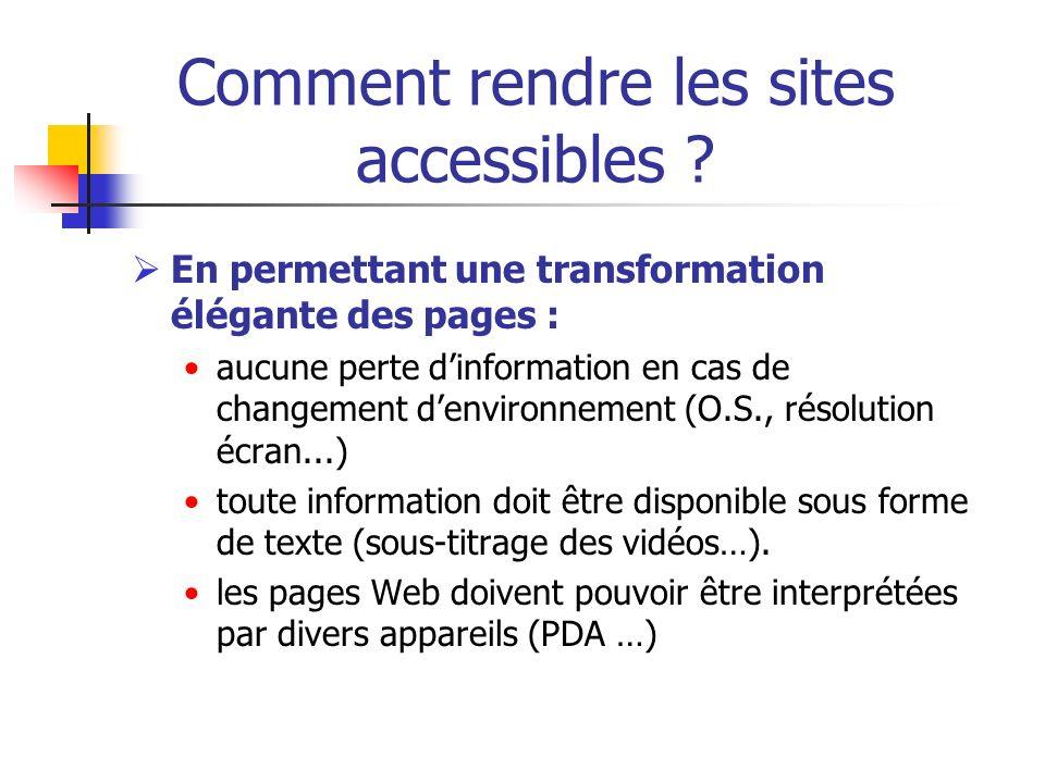 Comment rendre les sites accessibles ? En permettant une transformation élégante des pages : aucune perte dinformation en cas de changement denvironne