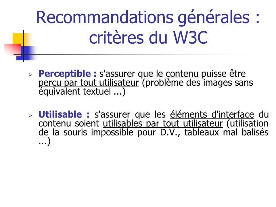 Recommandations générales : critères du W3C Perceptible : s'assurer que le contenu puisse être perçu par tout utilisateur (problème des images sans éq