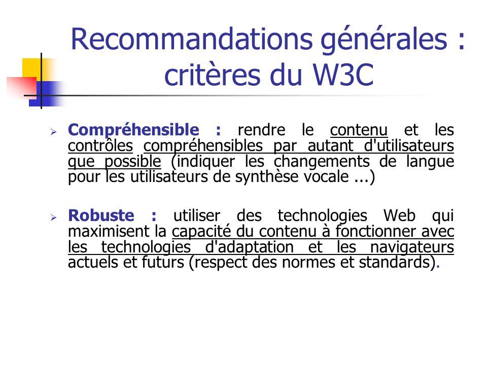 Recommandations générales : critères du W3C Compréhensible : rendre le contenu et les contrôles compréhensibles par autant d'utilisateurs que possible