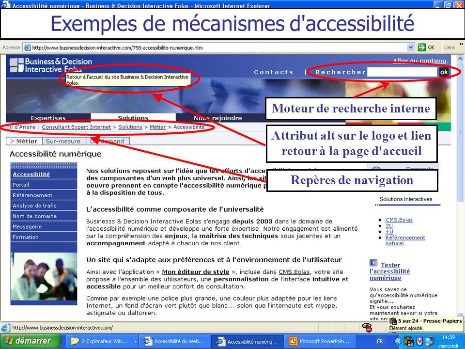 Moteur de recherche interne Attribut alt sur le logo et lien retour à la page d'accueil Exemples de mécanismes d'accessibilité Repères de navigation