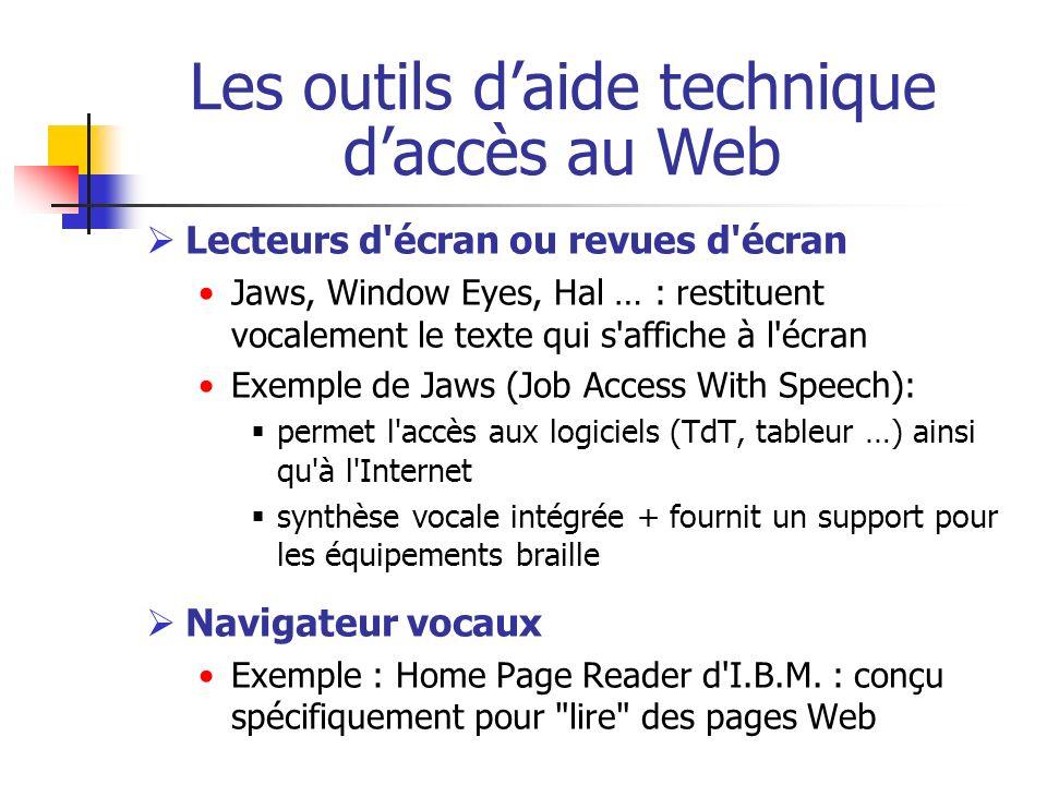 Lecteurs d'écran ou revues d'écran Jaws, Window Eyes, Hal … : restituent vocalement le texte qui s'affiche à l'écran Exemple de Jaws (Job Access With