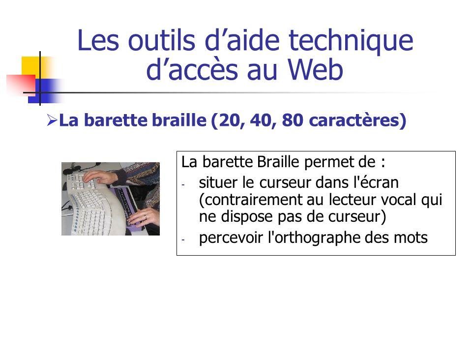 La barette Braille permet de : - situer le curseur dans l'écran (contrairement au lecteur vocal qui ne dispose pas de curseur) - percevoir l'orthograp