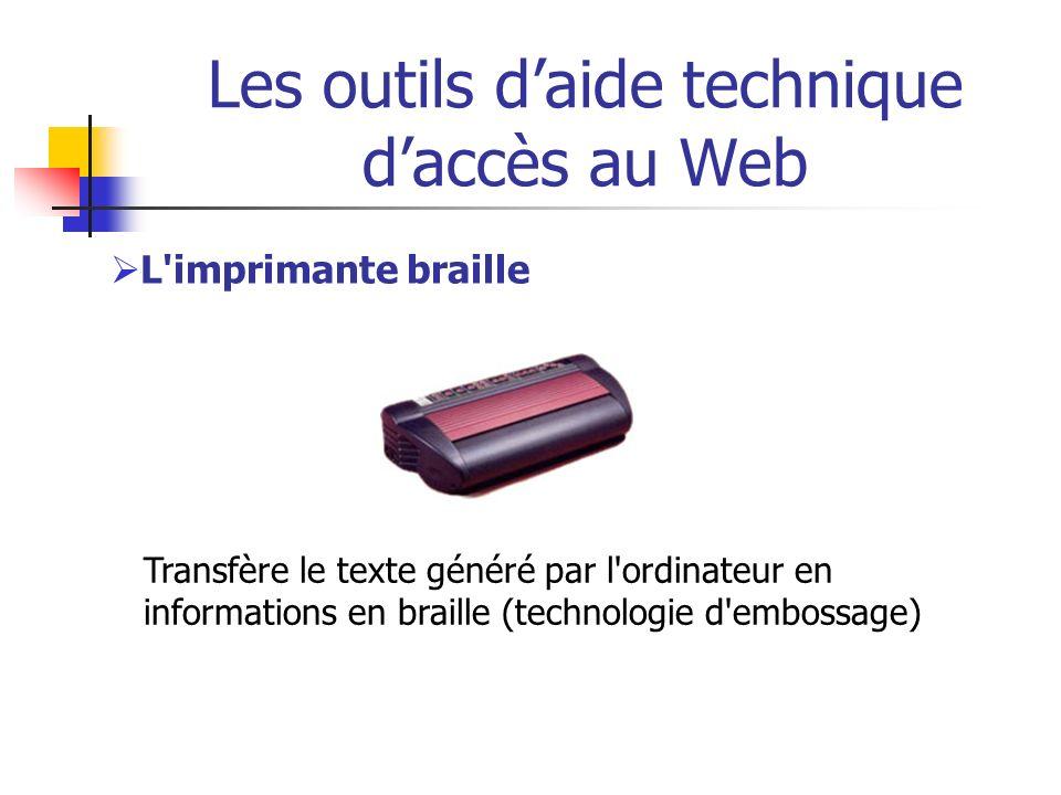 Internet & déficients visuels : problématique Maîtrise insuffisante de la technologie d assistance (projet avec 16 aveugles *): La plupart utilisent régulièrement la liste des liens (Insert-F7) : saut de lien en lien Quelques uns vérifient le titre de la fenêtre (Insert-T) Quelques uns utilisent la liste des entêtes (Insert- F6) ou sautent d entête en entête (H au clavier) …/… * Référence : Guidelines for Accessible and Usable Web Sites: Observing Users Who Work With Screen Readers Mary Frances Janice (Ginny) Redish, USA