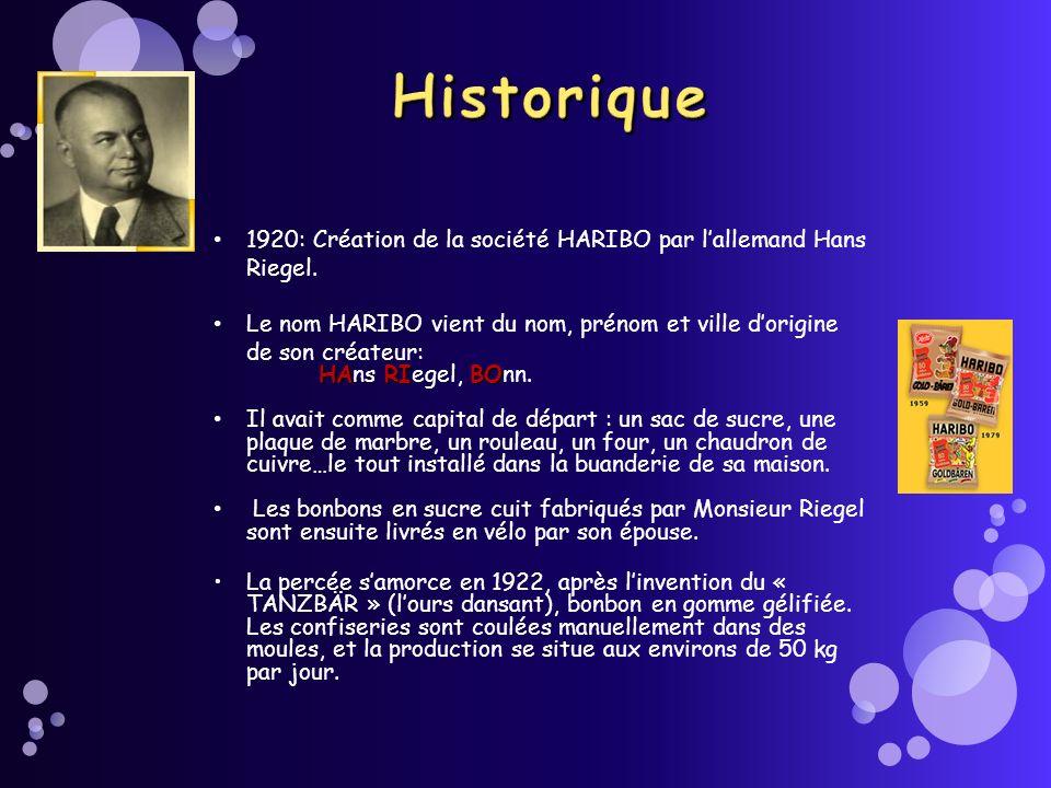 1920: Création de la société HARIBO par lallemand Hans Riegel. Le nom HARIBO vient du nom, prénom et ville dorigine de son créateur: HARIBO HAns RIege