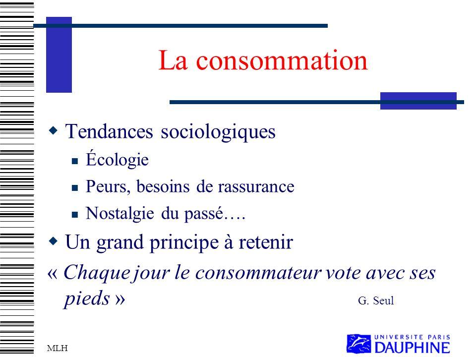 MLH La consommation Tendances sociologiques Écologie Peurs, besoins de rassurance Nostalgie du passé….