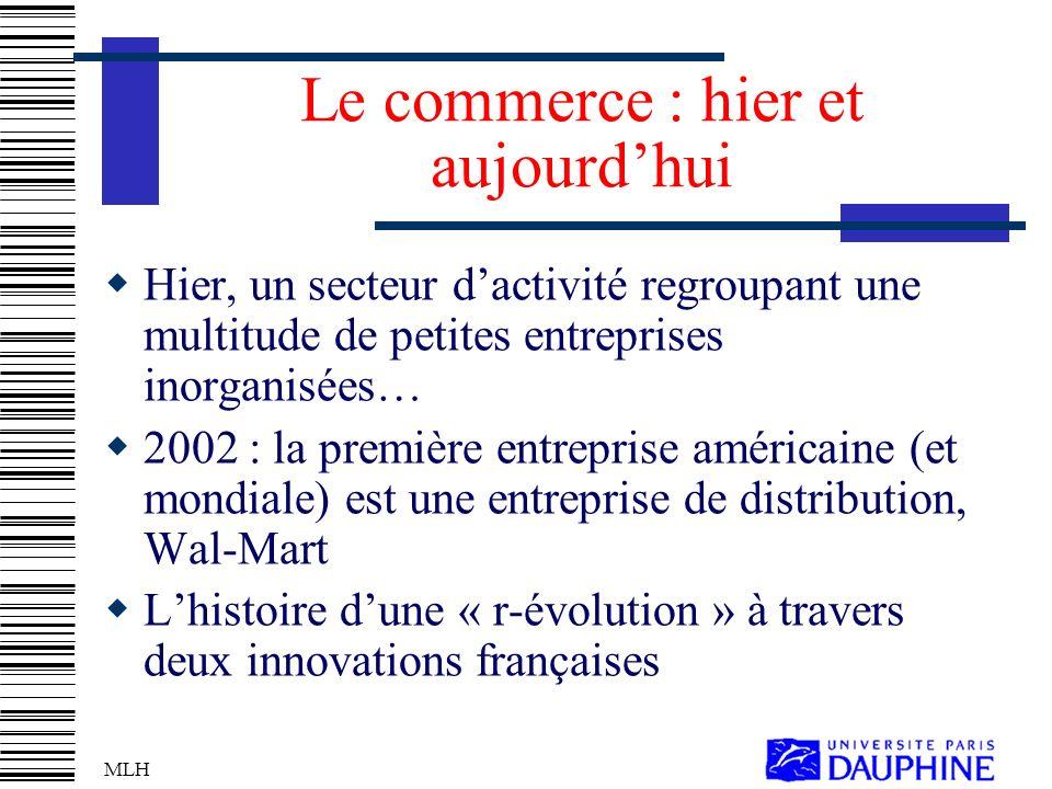 MLH Le commerce : hier et aujourdhui Hier, un secteur dactivité regroupant une multitude de petites entreprises inorganisées… 2002 : la première entreprise américaine (et mondiale) est une entreprise de distribution, Wal-Mart Lhistoire dune « r-évolution » à travers deux innovations françaises