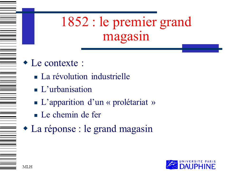 MLH 1852 : le premier grand magasin Le contexte : La révolution industrielle Lurbanisation Lapparition dun « prolétariat » Le chemin de fer La réponse : le grand magasin