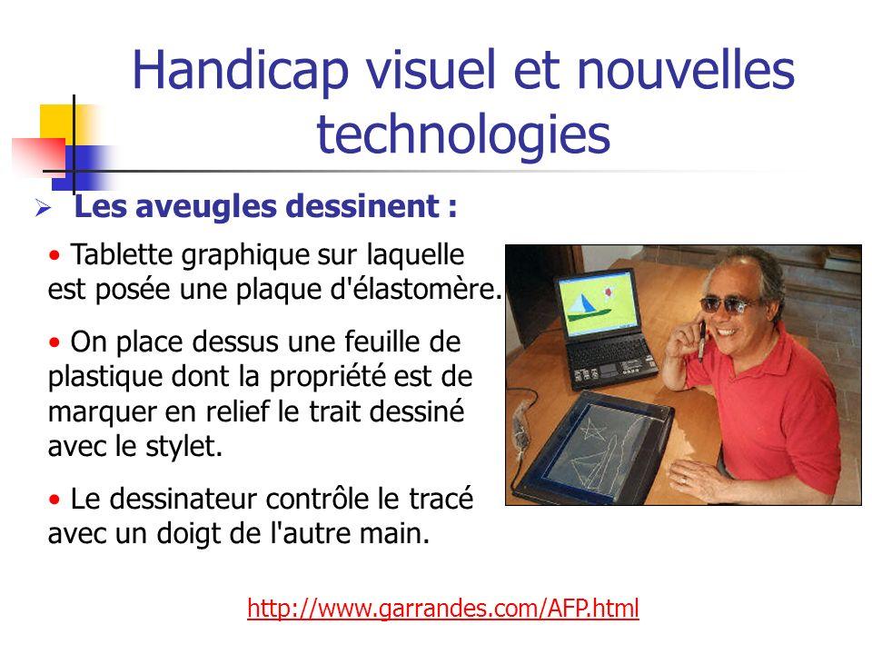 Handicap visuel et nouvelles technologies Les aveugles dessinent : Tablette graphique sur laquelle est posée une plaque d'élastomère. On place dessus