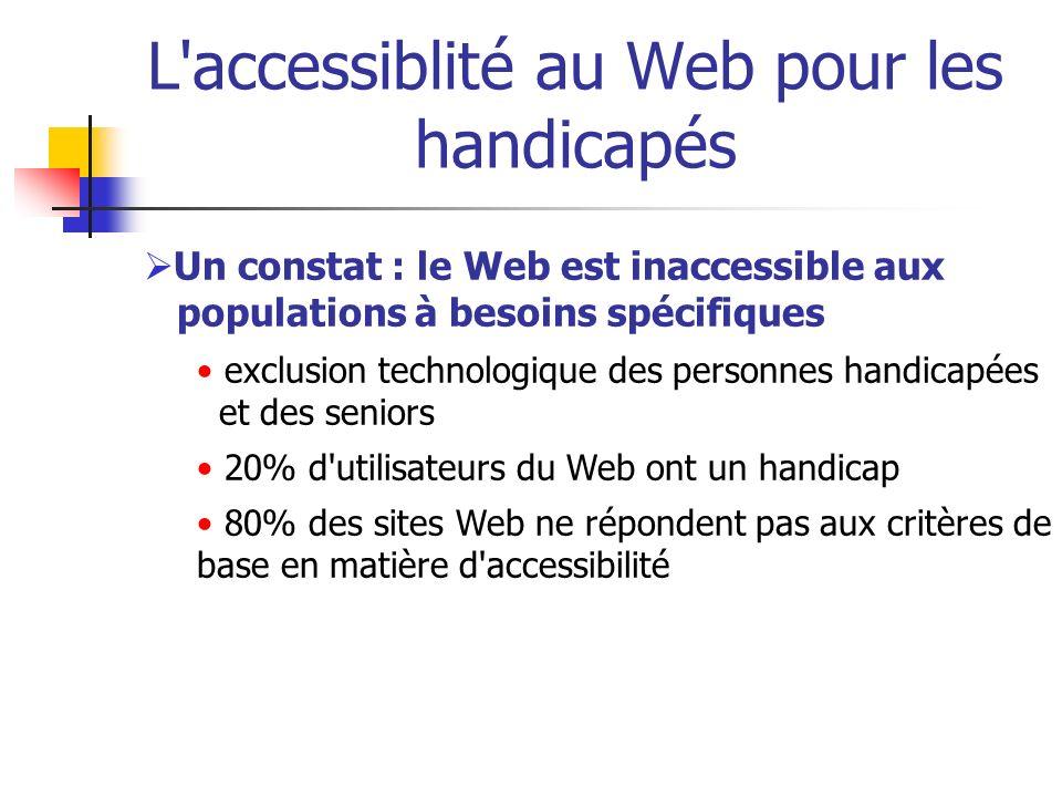 L'accessiblité au Web pour les handicapés Un constat : le Web est inaccessible aux populations à besoins spécifiques exclusion technologique des perso