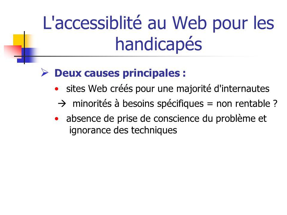 L'accessiblité au Web pour les handicapés Deux causes principales : sites Web créés pour une majorité d'internautes minorités à besoins spécifiques =