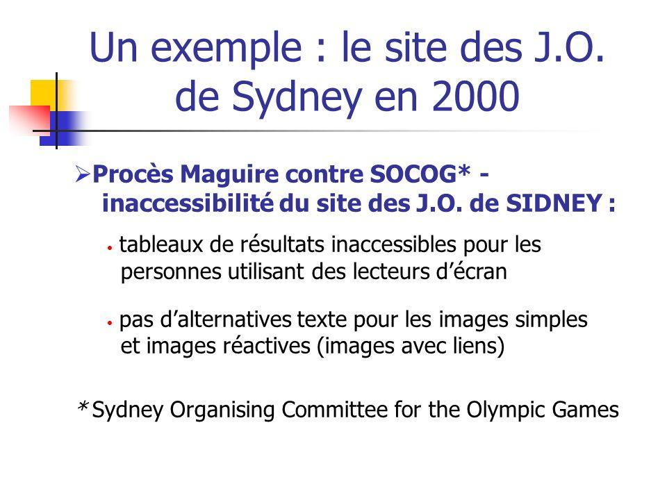 Un exemple : le site des J.O. de Sydney en 2000 Procès Maguire contre SOCOG* - inaccessibilité du site des J.O. de SIDNEY : tableaux de résultats inac