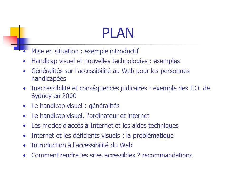 PLAN Mise en situation : exemple introductif Handicap visuel et nouvelles technologies : exemples Généralités sur l'accessibilité au Web pour les pers