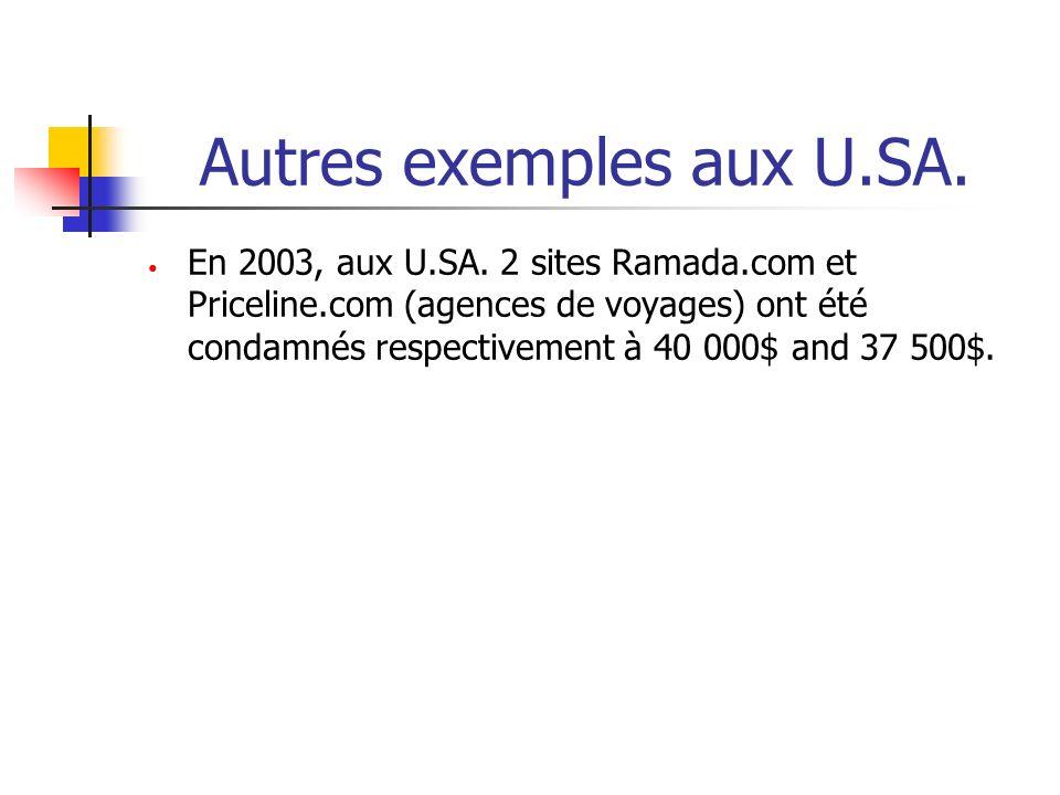 Autres exemples aux U.SA. En 2003, aux U.SA. 2 sites Ramada.com et Priceline.com (agences de voyages) ont été condamnés respectivement à 40 000$ and 3