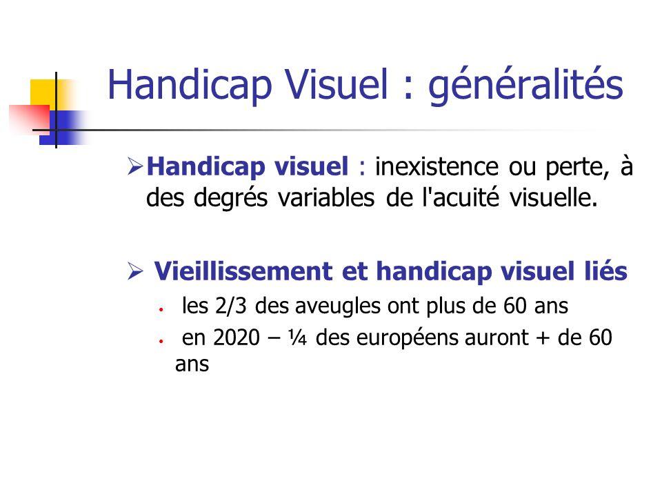 Handicap visuel : inexistence ou perte, à des degrés variables de l'acuité visuelle. Vieillissement et handicap visuel liés les 2/3 des aveugles ont p