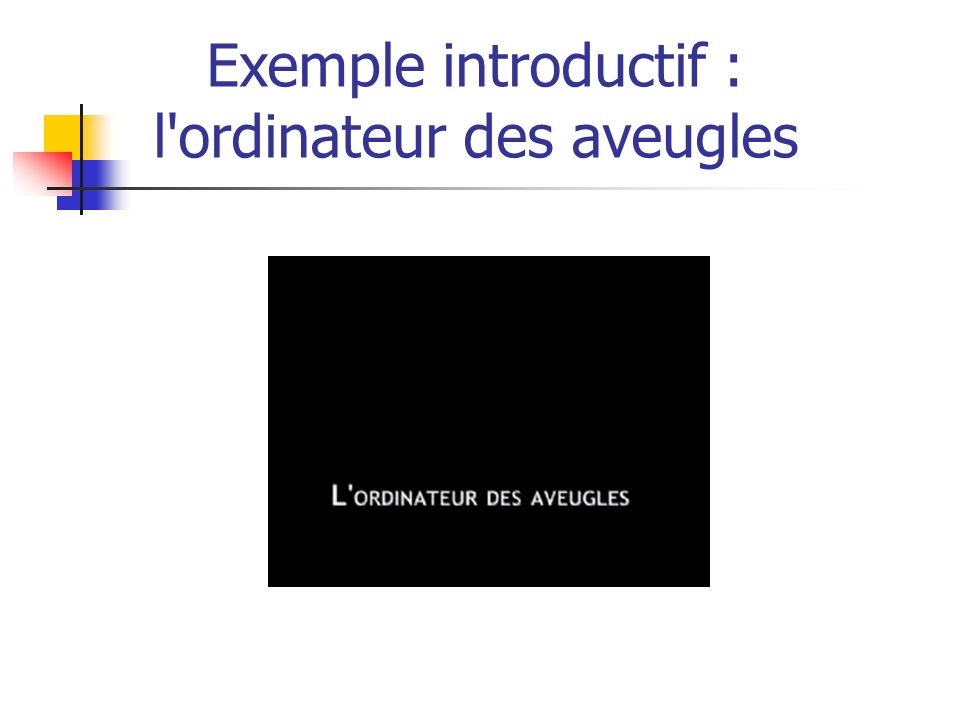 Exemple de perception d une page Web par un malvoyant (utilisation de Zoomtext) Exemple introductif : loupe logicielle pour malvoyants Source : http://www.accessibiliteweb.comhttp://www.accessibiliteweb.com