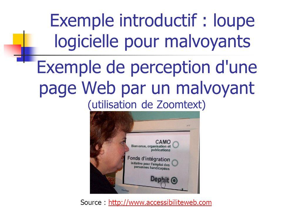 Exemple de perception d'une page Web par un malvoyant (utilisation de Zoomtext) Exemple introductif : loupe logicielle pour malvoyants Source : http:/