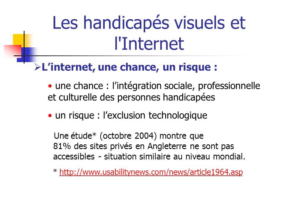 Les handicapés visuels et l'Internet Linternet, une chance, un risque : une chance : lintégration sociale, professionnelle et culturelle des personnes