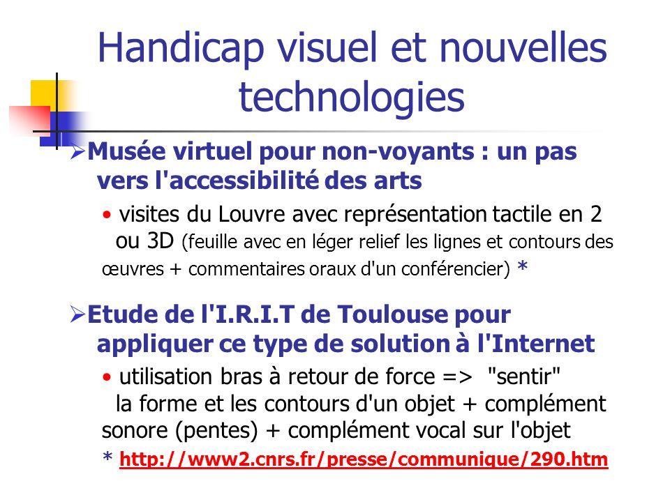 Handicap Visuel : généralités En France : 1 700 000 handicapés visuels* 207 000 aveugles ou malvoyants profonds 932 000 malvoyants moyens 560 000 malvoyants légers 45 millions d aveugles et 135 millions de malvoyants dans le monde** * Source Drees 07/2005 : http://www.sante.gouv.fr/drees/etude- resultat/er416/er416.pdfhttp://www.sante.gouv.fr/drees/etude- resultat/er416/er416.pdf ** Source OMS 2002