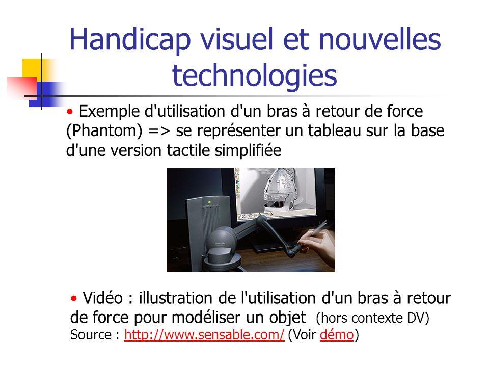 Handicap visuel et nouvelles technologies Exemple d'utilisation d'un bras à retour de force (Phantom) => se représenter un tableau sur la base d'une v