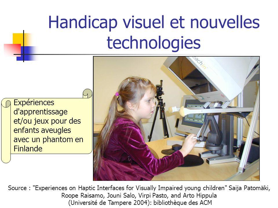 Handicap visuel et nouvelles technologies (1) Les aveugles regardent avec les doigts : développement d un écran tactile par le NIST*: 3600 picots - entre 2000 et 3000 (format Jpeg seulement) – pour photo, carte géographique ou courbe math.