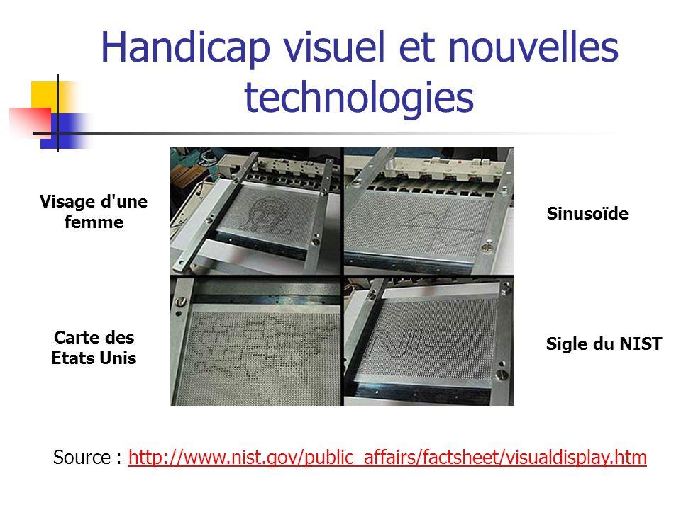 Handicap visuel et nouvelles technologies Les aveugles regardent avec les doigts : développement d un écran tactile Braille* : permet de lire du texte Braille sur les écrans d ordinateur.