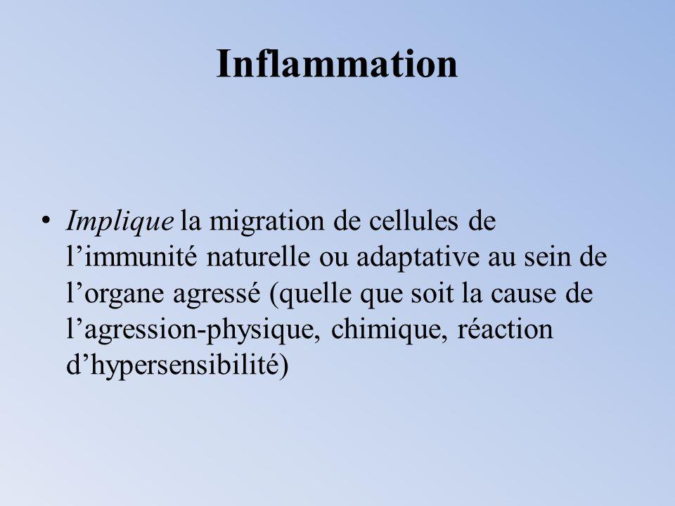 Inflammation Implique la migration de cellules de limmunité naturelle ou adaptative au sein de lorgane agressé (quelle que soit la cause de lagression