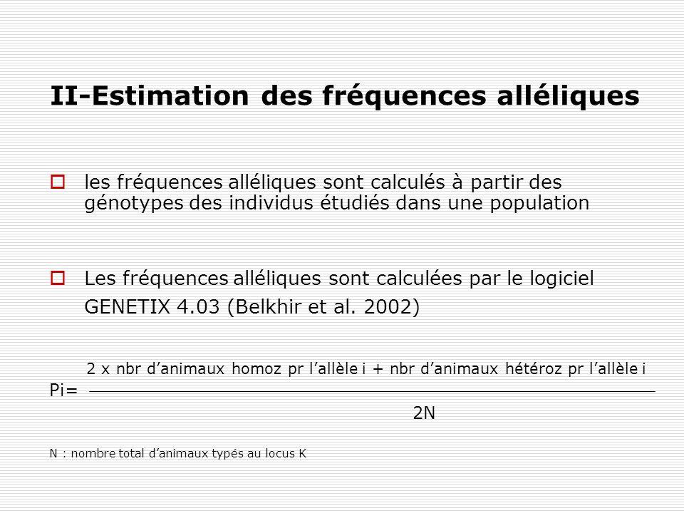 II-Estimation des fréquences alléliques les fréquences alléliques sont calculés à partir des génotypes des individus étudiés dans une population Les f