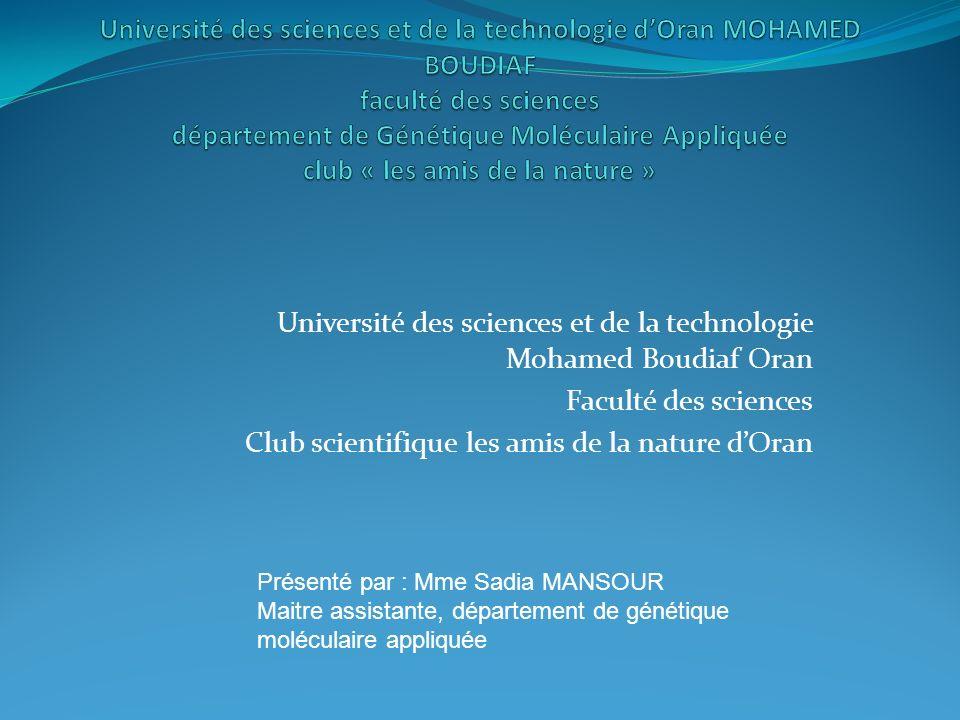 Université des sciences et de la technologie Mohamed Boudiaf Oran Faculté des sciences Club scientifique les amis de la nature dOran Présenté par : Mm