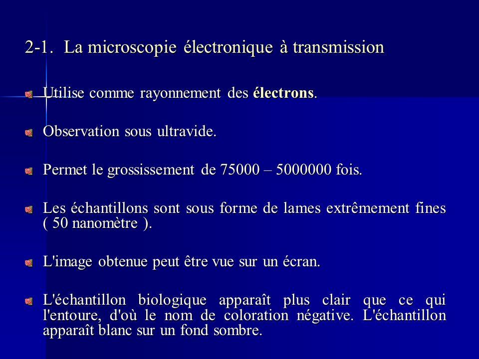 2-1. La microscopie électronique à transmission Utilise comme rayonnement des électrons. Observation sous ultravide. Permet le grossissement de 75000