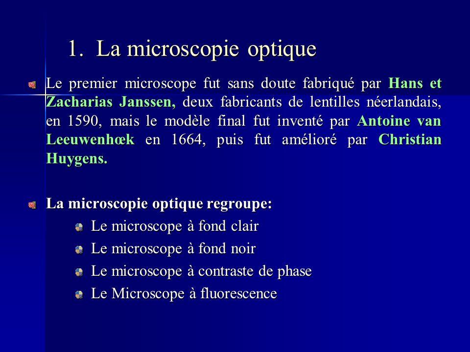 1. La microscopie optique Le premier microscope fut sans doute fabriqué par Hans et Zacharias Janssen, deux fabricants de lentilles néerlandais, en 15