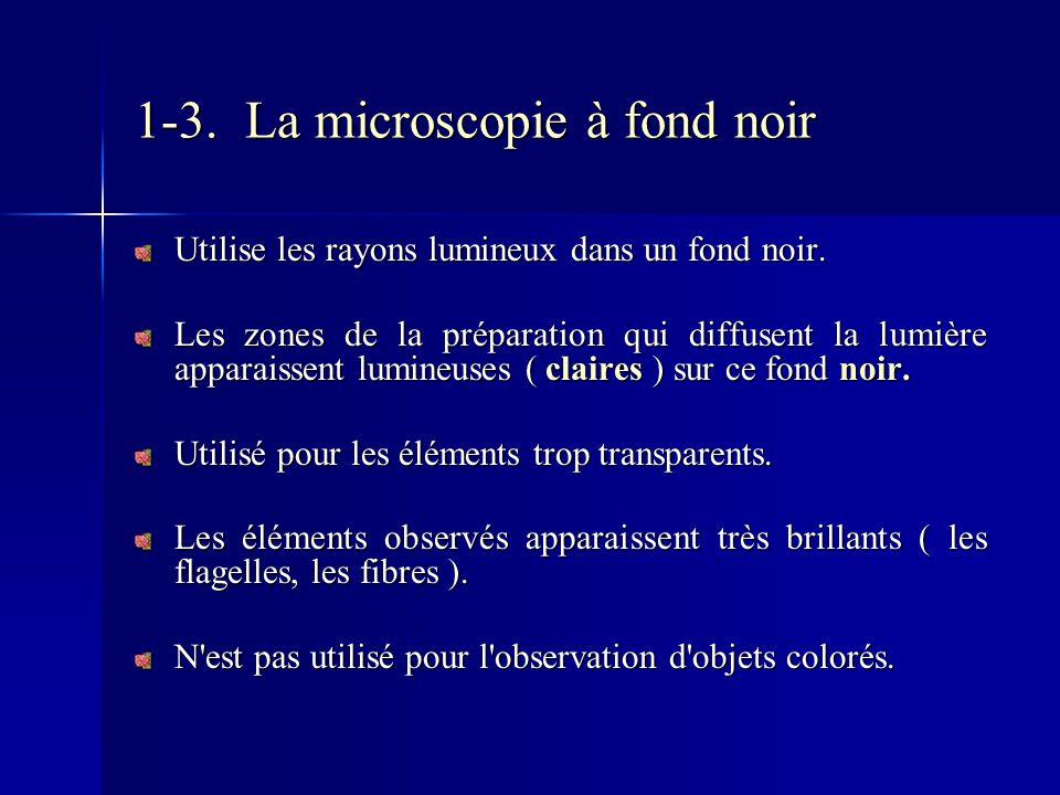 1-3. La microscopie à fond noir Utilise les rayons lumineux dans un fond noir. Les zones de la préparation qui diffusent la lumière apparaissent lumin