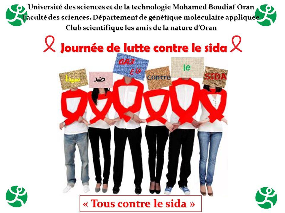 Journée de lutte contre le sida « Tous contre le sida » Université des sciences et de la technologie Mohamed Boudiaf Oran Faculté des sciences. Départ