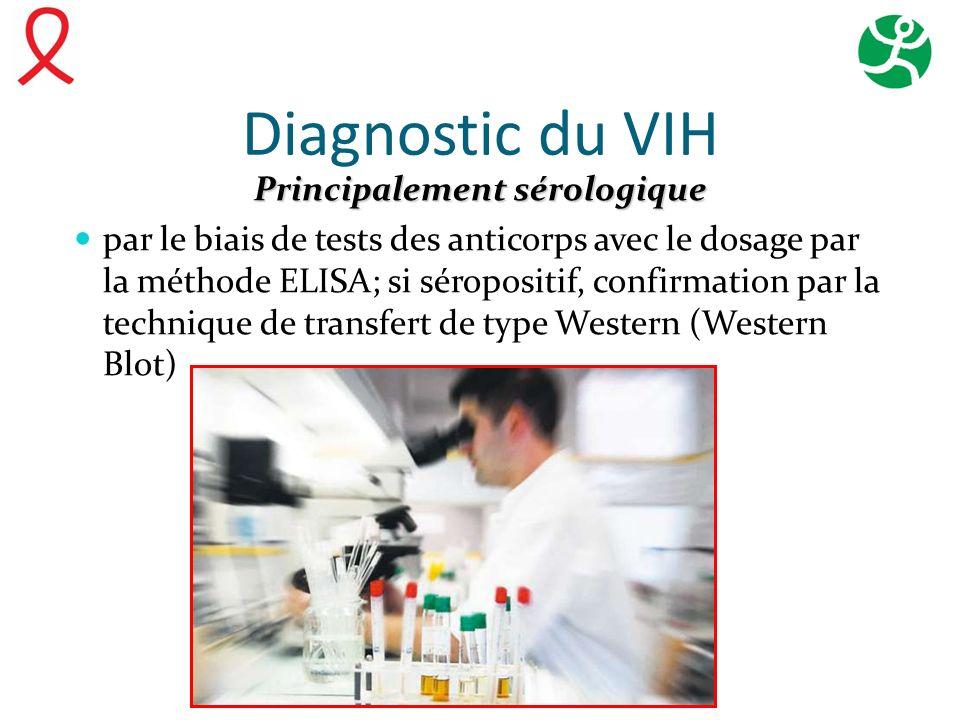 Diagnostic du VIH Principalement sérologique par le biais de tests des anticorps avec le dosage par la méthode ELISA; si séropositif, confirmation par