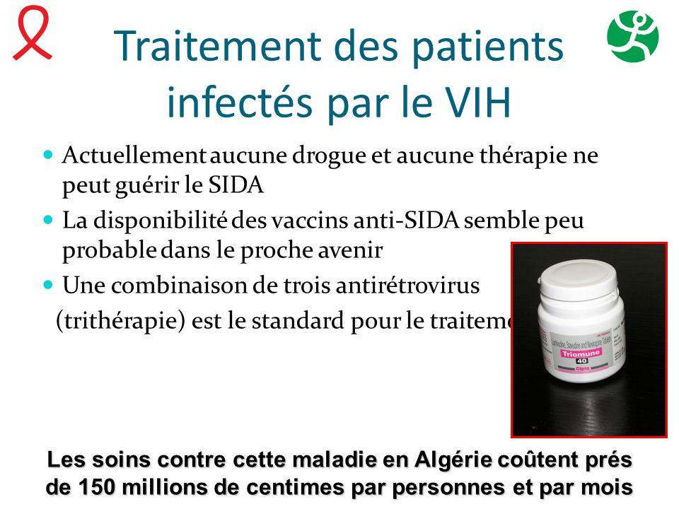 Traitement des patients infectés par le VIH Actuellement aucune drogue et aucune thérapie ne peut guérir le SIDA La disponibilité des vaccins anti-SID
