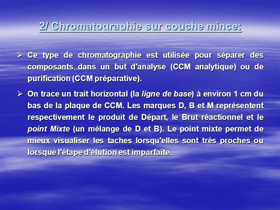 2/ Chromatographie sur couche mince: Ce type de chromatographie est utilisée pour séparer des composants dans un but d'analyse (CCM analytique) ou de