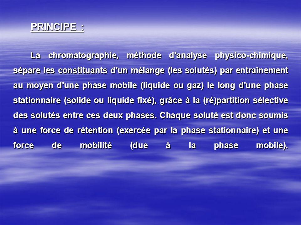 PRINCIPE : La chromatographie, méthode d'analyse physico-chimique, sépare les constituants d'un mélange (les solutés) par entraînement au moyen d'une