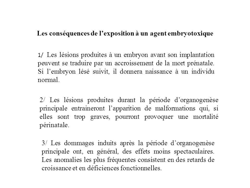 Les conséquences de lexposition à un agent embryotoxique 1/ Les lésions produites à un embryon avant son implantation peuvent se traduire par un accro