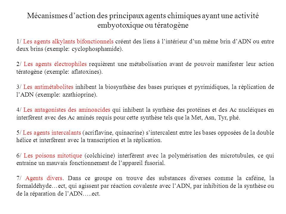 Mécanismes daction des principaux agents chimiques ayant une activité embyotoxique ou tératogène 1/ Les agents alkylants bifonctionnels créent des lie