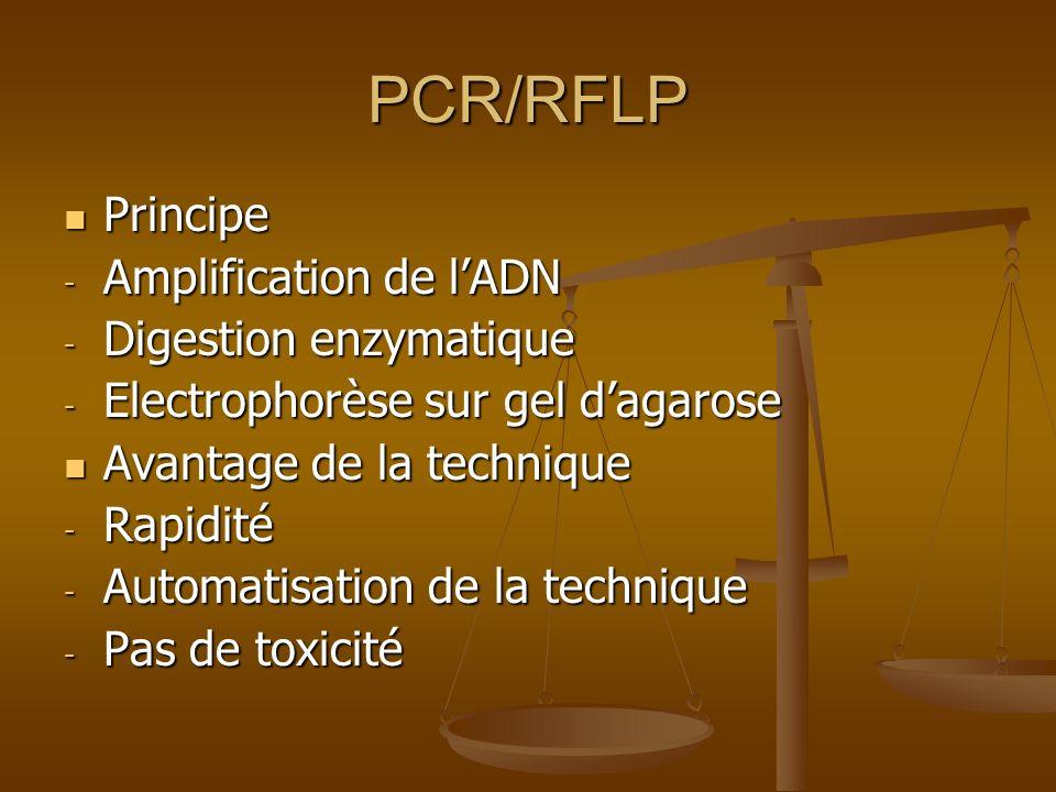 PCR/RFLP Principe Principe - Amplification de lADN - Digestion enzymatique - Electrophorèse sur gel dagarose Avantage de la technique Avantage de la t