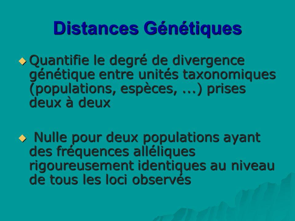 Distances Génétiques Quantifie le degré de divergence génétique entre unités taxonomiques (populations, espèces,...) prises deux à deux Quantifie le degré de divergence génétique entre unités taxonomiques (populations, espèces,...) prises deux à deux Nulle pour deux populations ayant des fréquences alléliques rigoureusement identiques au niveau de tous les loci observés Nulle pour deux populations ayant des fréquences alléliques rigoureusement identiques au niveau de tous les loci observés