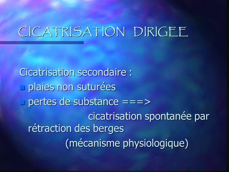 CICATRISATION DIRIGEE Cicatrisation secondaire : n plaies non suturées n pertes de substance ===> cicatrisation spontanée par rétraction des berges (m