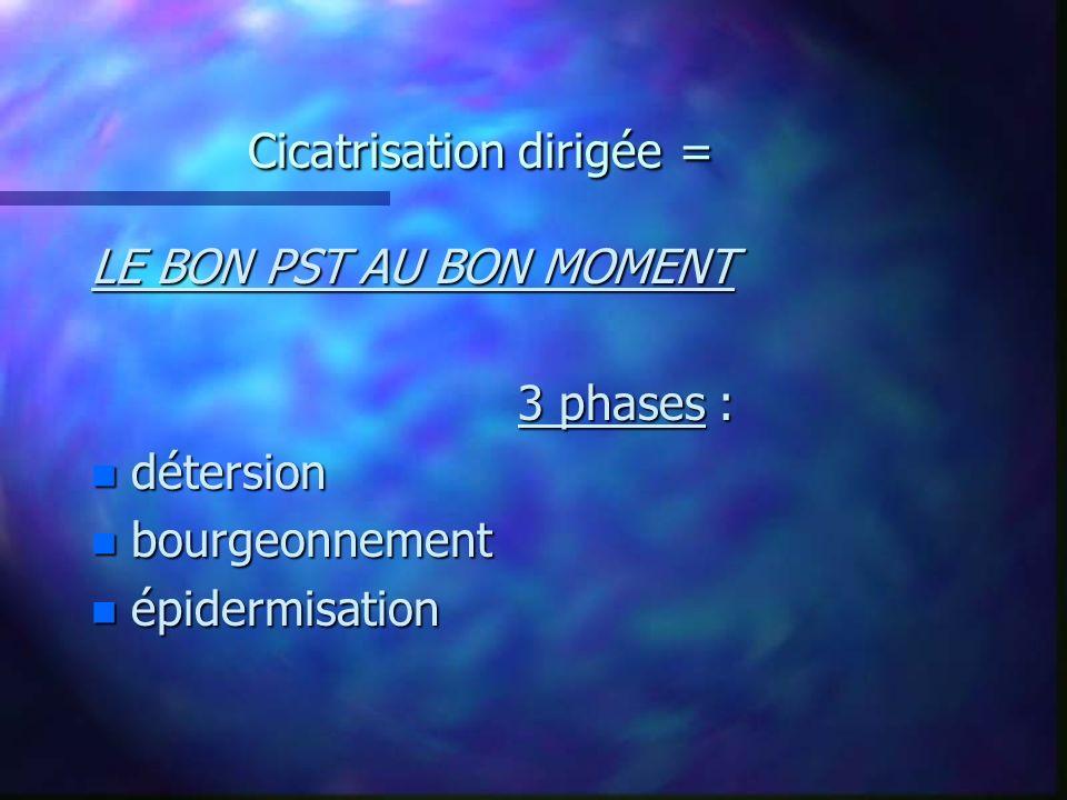 Cicatrisation dirigée = LE BON PST AU BON MOMENT 3 phases : n détersion n bourgeonnement n épidermisation