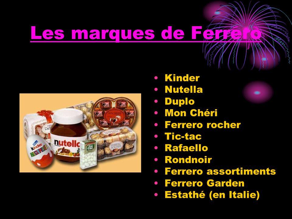 Les marques de Ferrero Kinder Nutella Duplo Mon Chéri Ferrero rocher Tic-tac Rafaello Rondnoir Ferrero assortiments Ferrero Garden Estathé (en Italie)