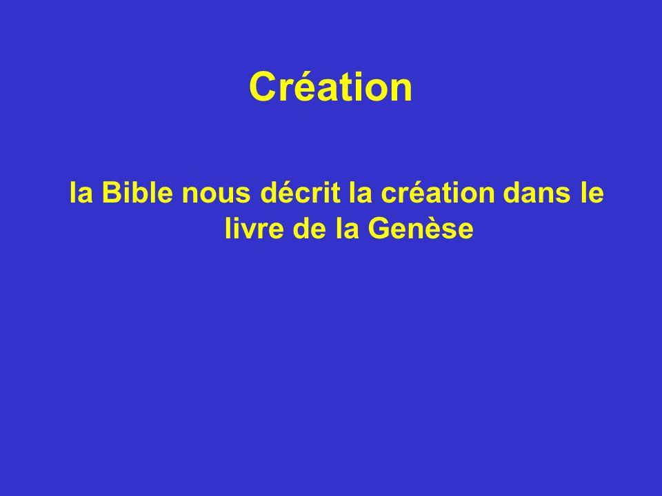 Création la Bible nous décrit la création dans le livre de la Genèse