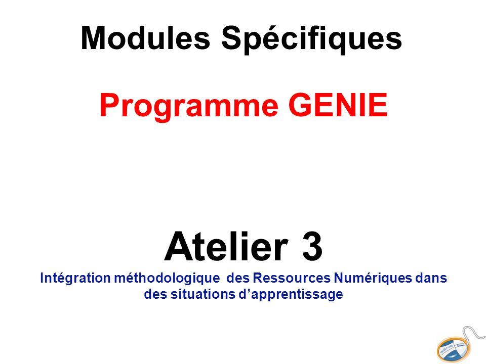 Modules Spécifiques Programme GENIE Atelier 3 Intégration méthodologique des Ressources Numériques dans des situations dapprentissage