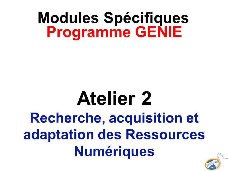Modules Spécifiques Programme GENIE Atelier 2 Recherche, acquisition et adaptation des Ressources Numériques